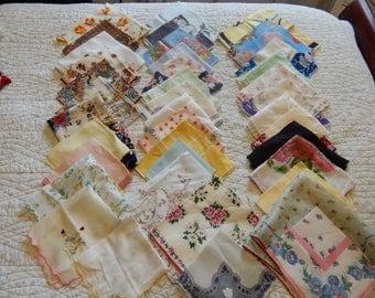 Vintage Large lot 40 Hankies Handkerchiefs Farmhouse wedding crafts quilts