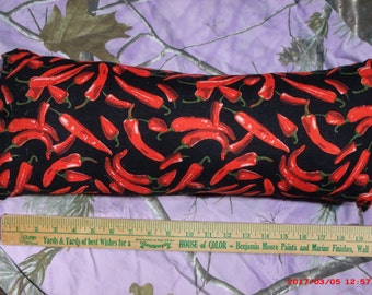 Homemade Pillow--Black w/ Red Chili Peppers Print