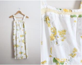 70's Yellow Floral Dress / Novelty Dress / Summer Dress / Size XXS/XS