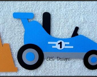 Die Cut Go Kart BLUE Premade Paper Piecing Embellishment for Card Making Scrapbook or Paper Crafts