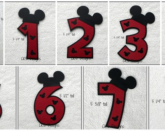 Die Cut Disney Mickey Mouse Birthday Number Premade Paper Piecing Embellishment for Card Making Scrapbook or Paper Crafts
