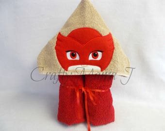 "PJ Mask inspired Red Owlette Hooded Bath Towel! 10"" Hood. READY To SHIP. Perfect gift. Can be personalized. For Chld or Adult"