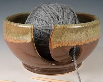 Yarn / Knitting Golden Brown Bowl - Wheel Thrown Stoneware by Seiz Pottery