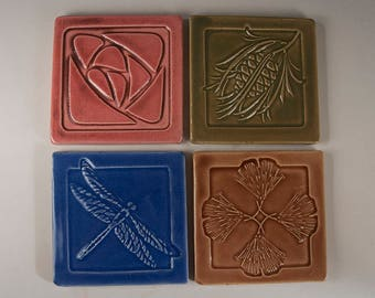Arts and Crafts Mission Prairie Style Tile Coasters - Set of 4 - Pinecone - Dragonfly - Ginkgo - Rose