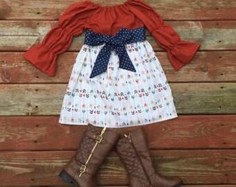 Girls Fall Thanksgiving Dress and Sash Pumpkin Orange Navy Gold Arrows 3 6 12 18 24 2t 3t 4t 5 6 7 8 9 10 Fall Autumn Dress