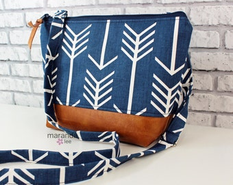 BRI Large Messenger Bag Navy Arrows - READY to SHIP