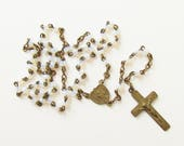 Vintage Small Glass Bead Cross Rosary 1940s Prayer Beads Childs Pocket