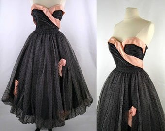 1950s Black Tulle with Pink Satin Ribbon, Bubble Skirt Strapless Dress by Minuet Designed by Mollie Stone, Party, Prom, Formal Event