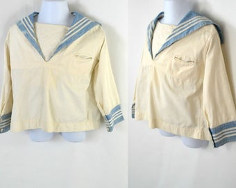 Vintage Toddler Boy White and Light Blue Sailor Shirt by Buckley Brothers Co. Nautical Top