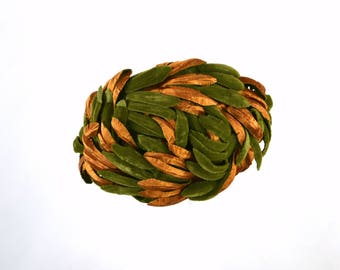1950s Green and Copper Velvet Leaf Fascinator Casque Hat
