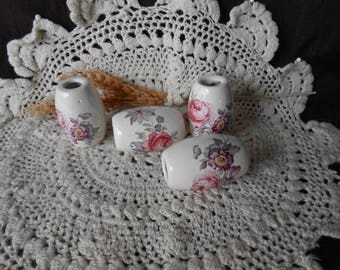 4 Lg Oval  Shaped Glazed Ceramic Macrame Beads-Handcrafted-Flower Bouquet Decal-LD6