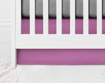 Geranium Straight Crib Skirt - Geranium Crib Skirt - Solid Crib Skirt - Purple Baby Bedding -Purple Crib Bedding - Orchid Crib Skirt