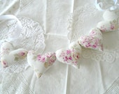 RESERVED~Shabby Chic Heart Garland / Pink Roses Garland / Heart Banner / Pillow Hearts / String Hearts / Rachel Ashwell Fabric / Faded Pink