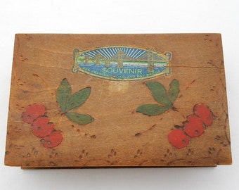 "Vintage 1930's San Francisco Oakland Bay Bridge Pyrography Box- Souvenir Trinket Box - Red Cherries Design - 5"" by 3"" - RARE"