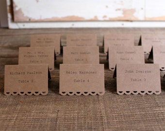 brown printed place cards for wedding, shower, party set of 100 - tallulah