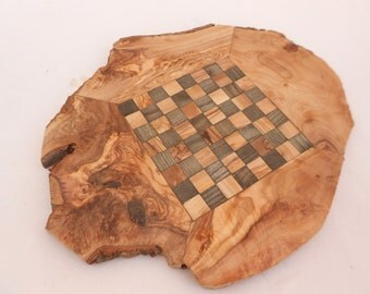 Unique Olive Wood Rustic Chess Set with Natural Edges, Gift for Him, Dad Gift