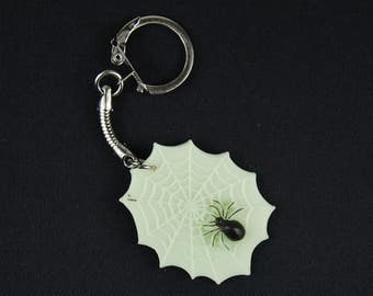 Spider web with spider Key Chain Miniblings pendant Key ring