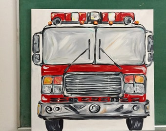 "24""x 24"" fire engine.  Front view, original art. Add personalization with name or number. Red truck art by melanie keskine. ready to ship"