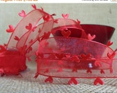 """EXTRA Savings CLEARANCE! Valentine  Sheer Ribbon 1"""" wide, Heart Edged Red Scarlet - THREE Yards- May Arts #606 Heart Cut-Out Valentine Ribbo"""