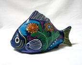 Mexican Folk Art Fish Figurine, Red Clay, Pottery, Tonala, Hand Painted Flowers, Floral, Colorful, Gift Idea, Excellent