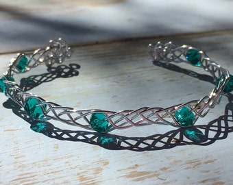 Glass Beads Celtic Braid Bracelet Adjustable Aluminum Bangle Wire Weave