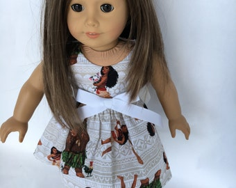 18 inch doll dress, Moana doll dress made to fit 18 inch dolls such as American Girl dolls and similar size dolls