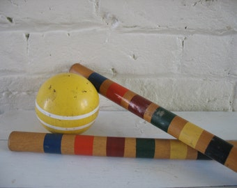 Vintage Colored Croquet Stakes - Colored Croquet Poles