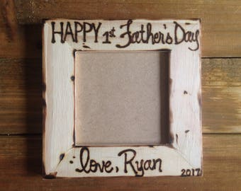 First Father's Day Personalized Wood Frame