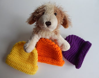 Baby Boy Winter Hat in Orange, Yellow and Purple - Set of 3 - Newborn Infant