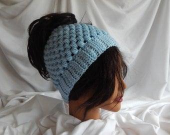 Pony Tail Messy Bun Hat - Crochet Woman's Fashion Hat - Baby Blue
