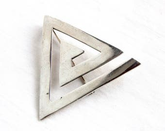 Mexican Triangle Brooch Vintage Mid Century Sterling Silver Modernist Pin Taxco Mexico Geometric Jewelry