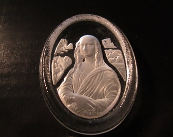 Vintage Mona Lisa Intaglio Glass Cab 40x30mm 1Pc. Without Setting