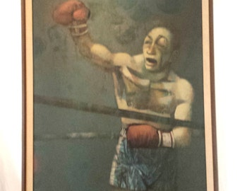 """Huge MCM Abstract """"Boxer in Ring"""" Oil Painting by Edmond Kohn"""