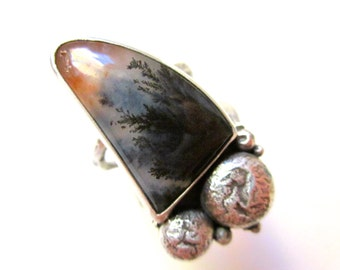 Every Prophet in His House - primitive organic black Woodward Ranch plume agate stone, cluster granule, sterling silver metalwork bezel ring
