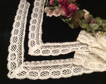 Vintage Cotton Lace Trim Salvaged,  Vintage Sewing Supplies, Vintage Country Lace