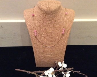 Vintage PinkGlass  Bead and Gold Chain Monet Necklace, Vintage Costume Jewelry