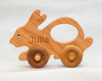 Bunny Car, Wooden Bunny Car for Children, Easter Gift for Kids