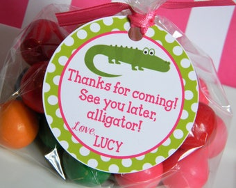 Alligator Birthday Party Personalized Favor Tags, Thank You Tags, Treat Tags, Goody Bags,  Party Favors, Party Decorations, Set of 12