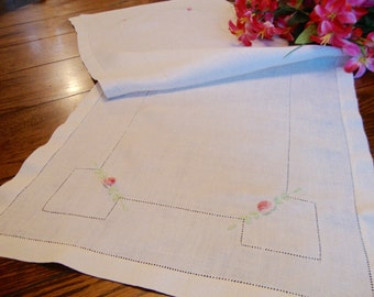 Linen Table Runner Pink Floral Embroidered Dresser Scarf Vintage Table Linens