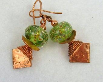 FUNKY COPPER and Artisan Lampwork Earrings (ER169)