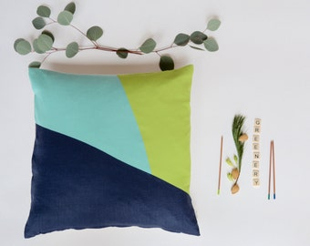 Modern Pillow/Greenery/Aqua/Navy Blue/Fresh Spring Collection/Handcrafted/Custom Pillow/Handmade/Eclectic/ZigZag Studio Design
