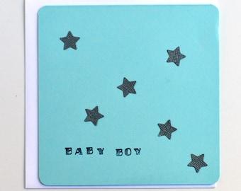 Baby Boy Card - Grey stars, Twinkle stars