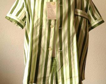 Original 60s Green Stripy Summer Set Men's Shorts Shirt Brand New