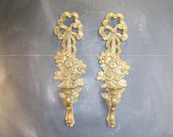 Pair of Gold Syroco Wall Candle Sconces-Hollywood Regency-Mid Century