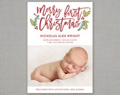 Christmas card birth announcement // baby first Christmas // holiday card // holly berry // babies first Christmas // merry first Christmas