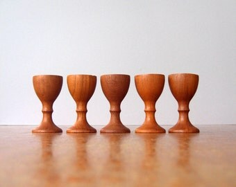 Five Mid Century Danish Modern Teak Tiny Taper Candle Holders