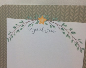 PERSONALIZED Primitive Star and Garland Note Card Set of 12