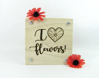 Flower Press. Wood Pyrography. Gardening Gift. Wildflowers. Teacher Gift. Mother's Day Gift. Flower Garden. Flower Art. Pressed Flowers.