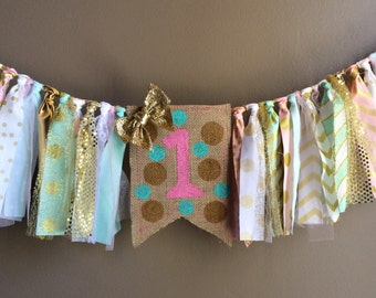 Pink, Mint and Gold Party, Highchair Banner, 1st Birthday, Photo Prop, Rag Banner, Cake Smash