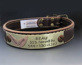 Custom Personalized Leather Dog Collar / Rescue Dog /  Rescued & Loved / Puppy Plate / Pet Gifts / Custom Dog Tags for Pets  / Angel Wings